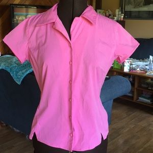 Pink shortsleeved button down